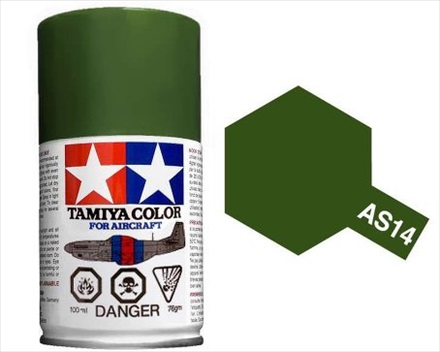 TAMIYA AS14 OLIVE GREEN ACRYLIC SPRAY PAINT 100ml (Aircraft)