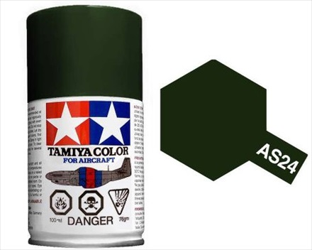 TAMIYA AS24 DARK GREEN ACRYLIC SPRAY PAINT 100ml (Aircraft)