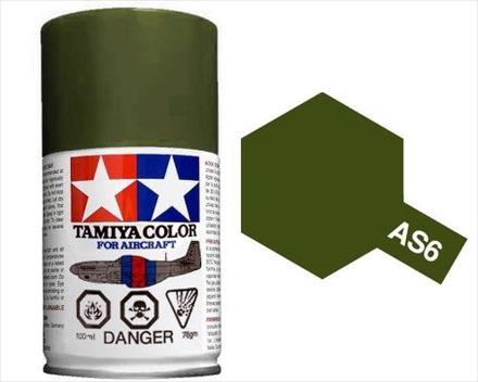 TAMIYA AS6 OLIVE DRAB ACRYLIC SPRAY PAINT 100ml (Aircraft)
