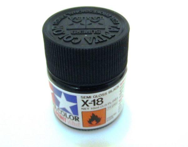 X-18   TAMIYA ACRYLIC PAINT BLACK(SEMI GLOSS)